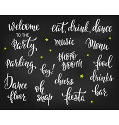 Party signs lettering quote typography set vector
