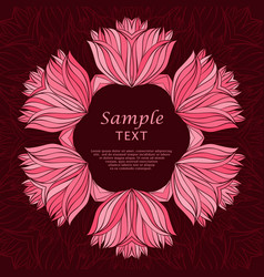 Abstract red floral frame vector