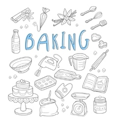 Bakery and dessert doodles hand drawn vector