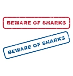 Beware of sharks rubber stamps vector