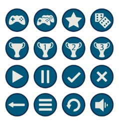 Blue flat game icons set vector