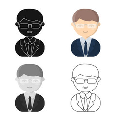 Business man cartoon icon for web vector