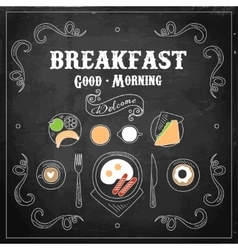 Chalkboard breakfast menu vector