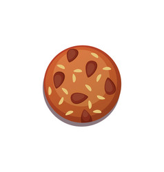 Chocolate cookie with nuts vector
