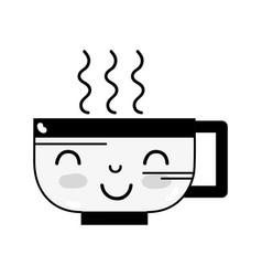 Contour kawaii cute happy coffee cup vector