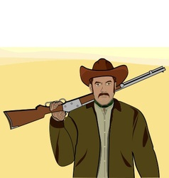 cowboy with a rifle vector image vector image