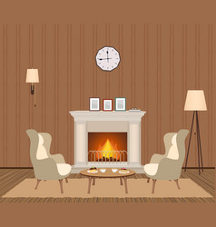 Cozy living room interior with fireplace vector