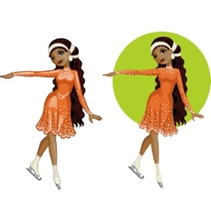 Cute young African American woman figure skater vector image vector image