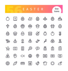 Easter line icons set vector