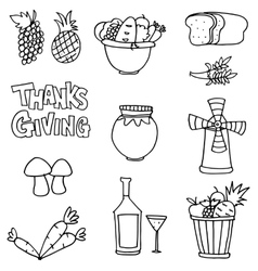 Element thanksgiving hand draw on doodles vector
