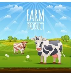 Farm landscape with cows vector image vector image