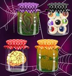 Four of bottles with potion vector image