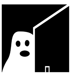 Ghost halloween white black background vector