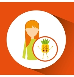 Girl cartoon and pineapple cute fruit icon vector
