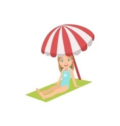 Girl On The Beach Sitting Under Umbrella vector image vector image