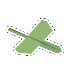 Green paper plane business symbol start cut line vector