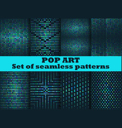 Halftone seamless pattern set dots background vector