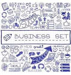 Hand drawn business set of icons vector image