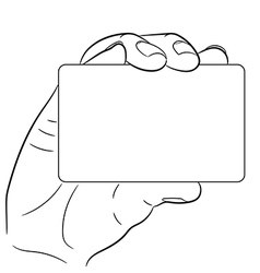 hand holding a plastic card on white background of vector image vector image