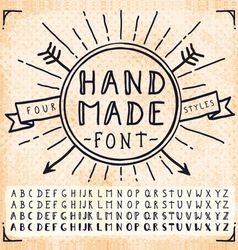 Handwriting Doodle Hand Drawn Fonts vector image