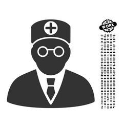 Head physician icon with people bonus vector