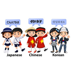 Kids from different countries in asia vector
