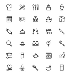Kitchen line icons 1 vector
