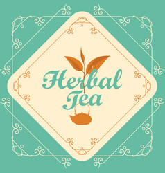 Label for herbal tea with sprig of tea and teapot vector