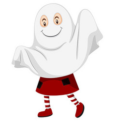 Little kid dressed up as ghost for halloween vector
