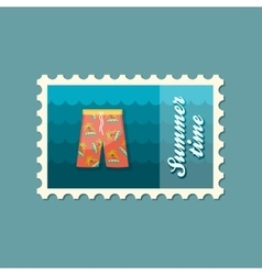 Men Beach Shortsl flat stamp vector image vector image