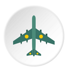 Military aircraft with missiles icon circle vector