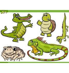 reptiles and amphibians cartoon set vector image vector image