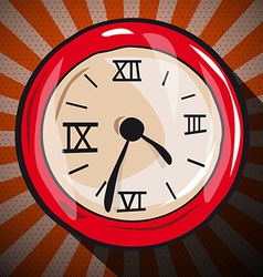 Retro clock flat design long shadow vector