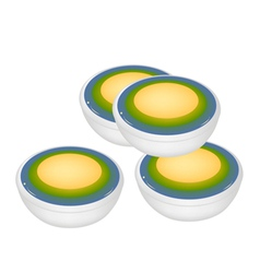 Stack of Thai Dessert of Layer Coconut Custard vector image