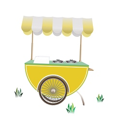 Street food cart with tent realistic on white back vector