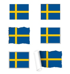 Sweden flag set vector image vector image