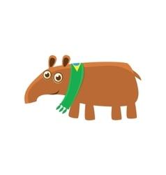 Tapir wearing brazilian fan scarf vector