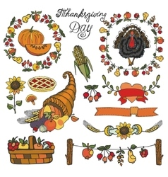 Thanksgiving day decorColorful Doodle set vector image