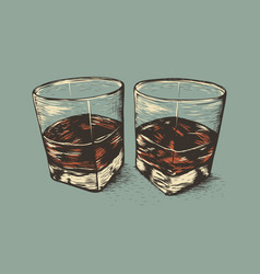 Two glasses with rum vector