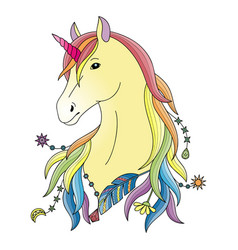Unicorn colorful print vector