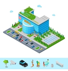 Isometric shopping mall building with cinema vector
