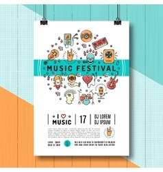 Music festival poster template a4 size line art vector