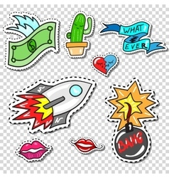 Big set of girl fashion comics style patch badges vector