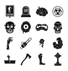 Zombie icons set parts simple style vector