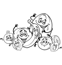 citrus fruits cartoon for coloring book vector image