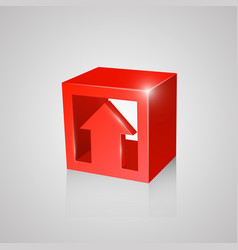 box with arrow red vector image
