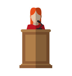 Woman speaking on podium icon image vector