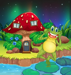 An annoying frog near the red mushroom house vector