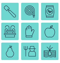 Set of 9 agriculture icons includes water vector