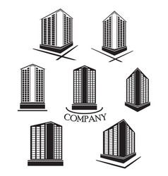 Set of company building logo and icon vector